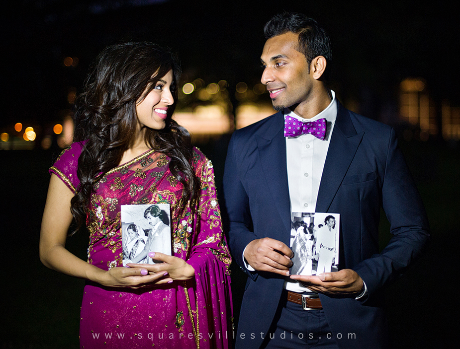 indian engagement session with sari