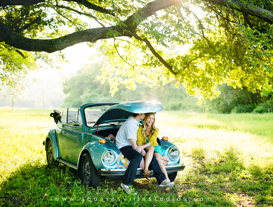 modern romantic engagement session with vw beetle