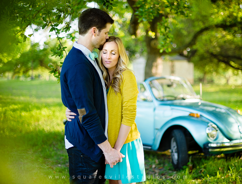 styled engagement session with vw beetle