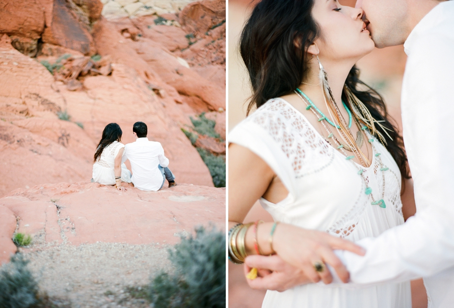 engagement session on film at Red Rock Canyon in Las Vegas Nevada by Destination Photographer Maria Hibbs of Squaresville Studios