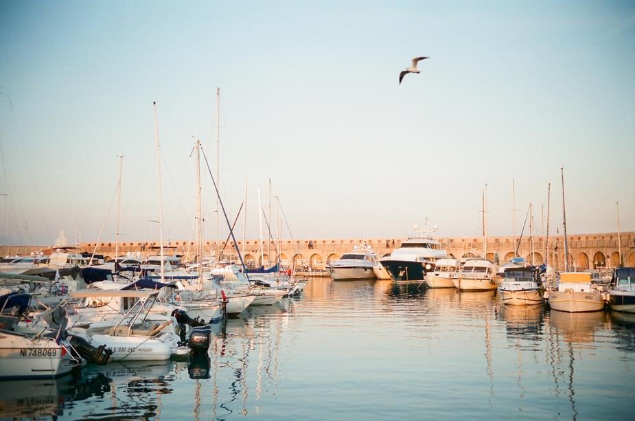 yacht harbor in Antibes Provene on 35 mm   Squaresville Studios