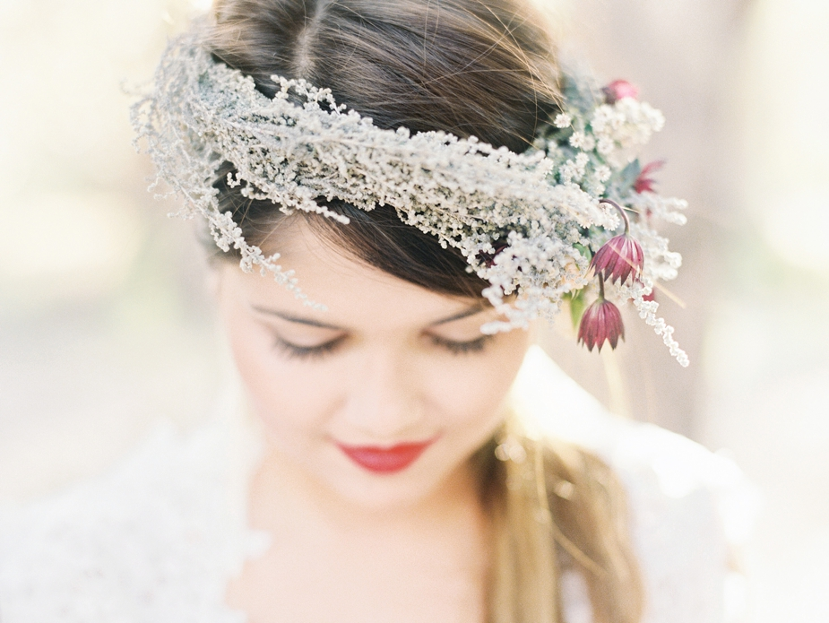 bride with beauiful sage head wreath | Squaresville Studios